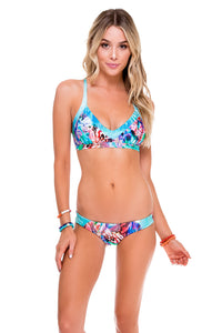 GORGEOUS CHAOS - Trimmed V Top & Wavey Ruched Back Brazilian Bottom • Multicolor