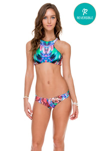 GORGEOUS CHAOS - Glam High Neck Top & Tab Sides Full Bottom • Multicolor