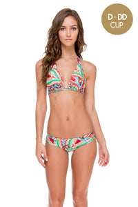 WILD HEART - Triangle Halter Top & Tab Sides Full Bottom • Multicolor