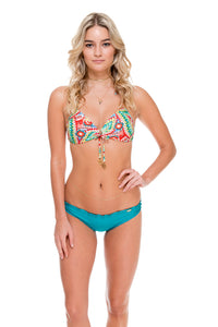 WILD HEART - Molded Push Up Bandeau Halter Top & Full Ruched Back Bottom • Exuma