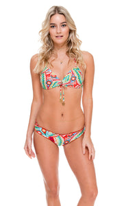 WILD HEART - Molded Push Up Bandeau Halter Top & Full Ruched Back Bottom • Multicolor