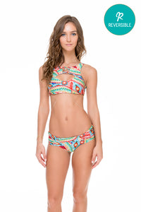 WILD HEART - Criss Cross Reversible Cut Out Top & Scrunch Ruched Back Brazilian Bottom • Multicolor