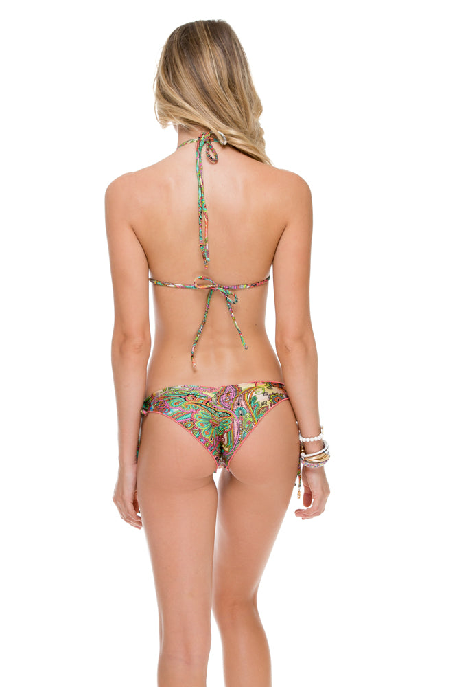CALLEJERA - Wavey Triangle Top & Wavey Ruched Back Brazilian Tie Side Bottom • Multicolor