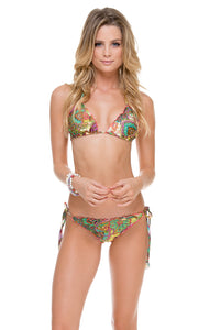 CALLEJERA - Wavey Triangle Top & Wavey Ruched Back Brazilian Tie Side Bottom • Multicolor (874421485612)