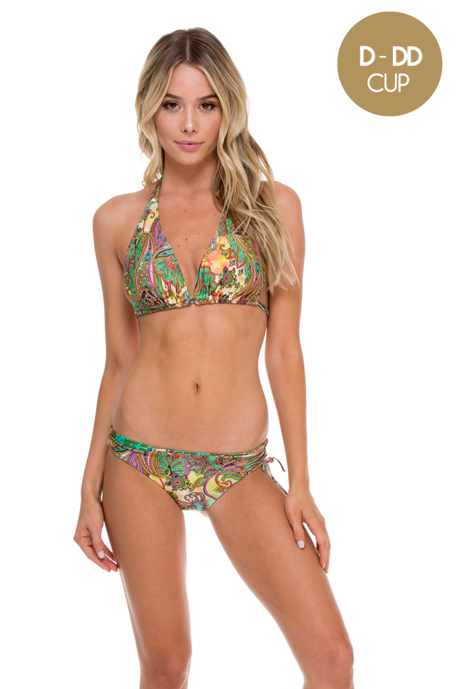 CALLEJERA - Triangle Halter Top & Reversible Sexy Side Full Bottom • Multicolor (874420535340)