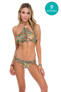 CALLEJERA - Criss Cross Peek A Boo Reversible Top & Reversible Sexy Side Full Bottom • Multicolor