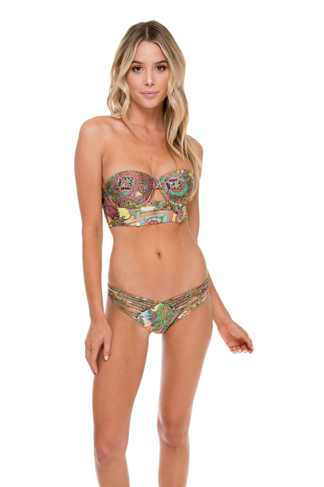CALLEJERA - Cut Out Corset Top & Strappy Brazilian Ruched Back Bottom • Multicolor (874419912748)