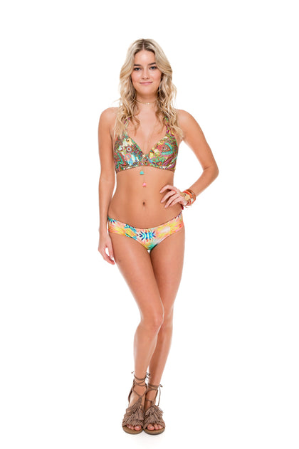 CALLEJERA - Underwire Halter Top & Tab Sides Full Bottom • Multicolor