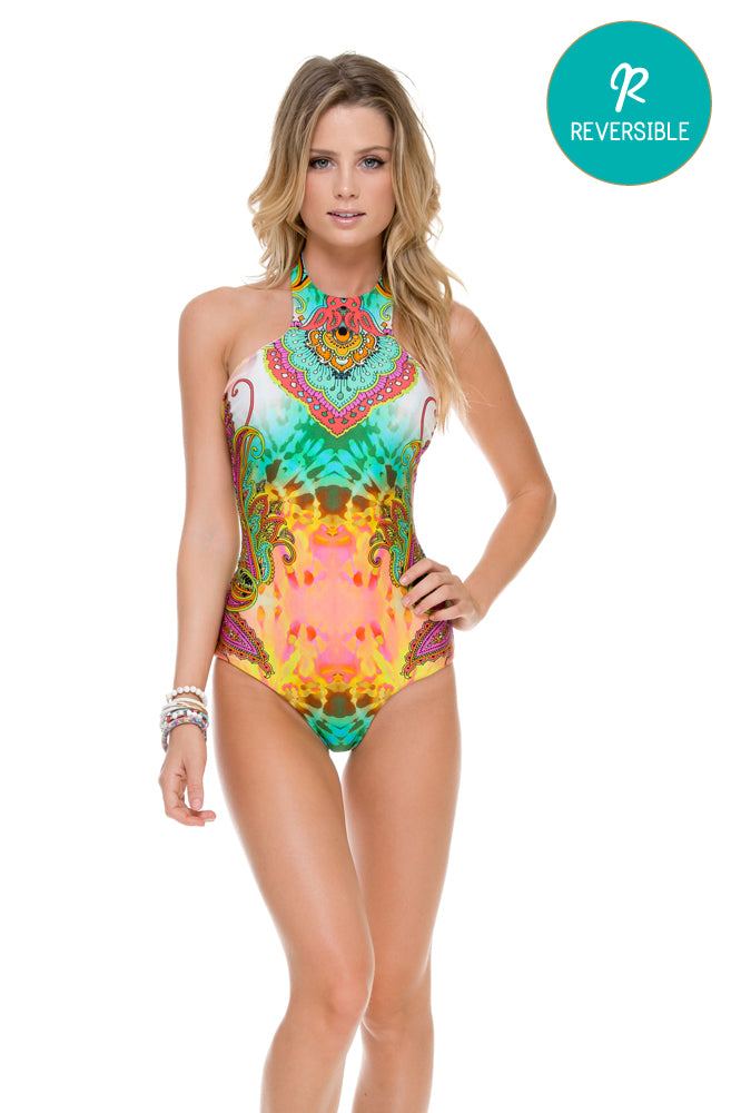 CALLEJERA - Glam High Neck Engineered One Piece • Multicolor (874420830252)