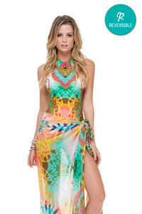 CALLEJERA - Glam High Neck Engineered One Piece & Pareo • Multicolor