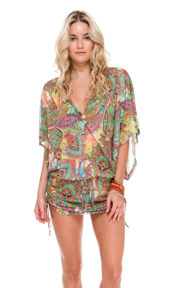 CALLEJERA - Cabana V Neck Dress • Multicolor