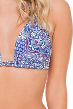 NAUGHTY GIRL - Triangle Halter Top & Wavey Ruched Back Brazilian Bottom • Multicolor