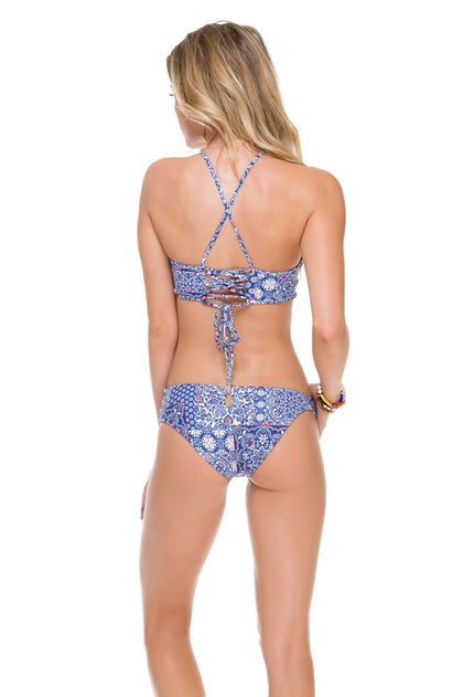 NAUGHTY GIRL - Hi Halter Top & Sexy Side Moderate Bottom • Multicolor