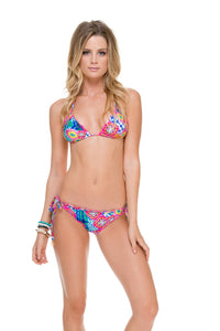 BEAUTIFUL MESS - Wavey Triangle Top & Wavey Ruched Back Brazilian Tie Side Bottom • Multicolor