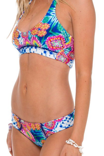 BEAUTIFUL MESS - Stitched Reversible Halter Top & Curve Stitched Reversile Moderate Bottom • Multicolor