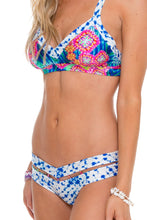 BEAUTIFUL MESS - Trimmed V Top & Strapped Band Reversible Moderate Bottom • Multicolor