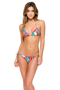 ENCANTADORA - Wavey Triangle Top & Wavey Ruched Back Brazilian Tie Side Bottom • Multicolor
