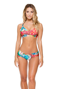 ENCANTADORA - Trimmed V Top & Scrunch Ruched Back Brazilian Bottom • Multicolor