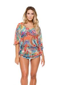ENCANTADORA - Cabana V Neck Dress • Multicolor