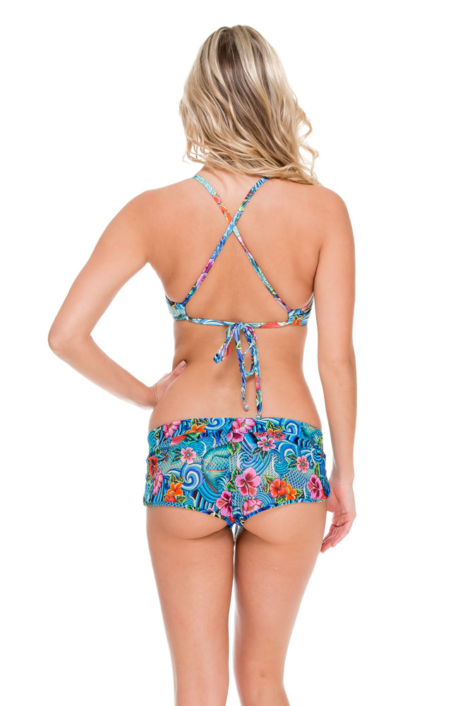 INKED BABE - Underwire Adjustable Top & Inked Drawstring Shorts • Multicolor