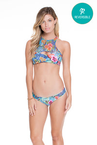 INKED BABE - Ink Mesh Reversible Cut Out Top & Moderate Bottom • Multicolor