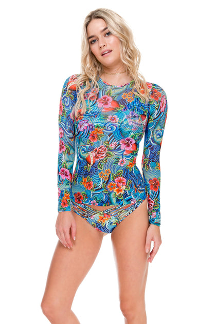 INKED BABE - Skin Deep Rash Guard & Strappy Brazilian Ruched Back Bottom • Multicolor