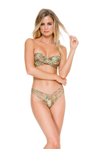 WORLD ON FIRE - Fama Multi Way Underwire Bandeau Top & Strappy Brazilian Ruched Back Bottom • Multicolor