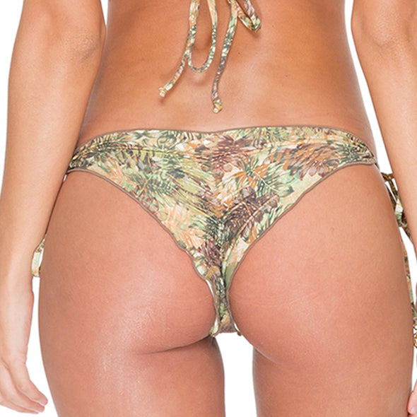 WORLD ON FIRE - Wavey Ruched Back Brazilian Tie Side Bottom