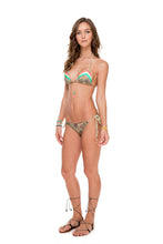 WORLD ON FIRE - Tri Color Braided Triangle Top & Wavey Ruched Back Brazilian Tie Side Bottom • Multicolor