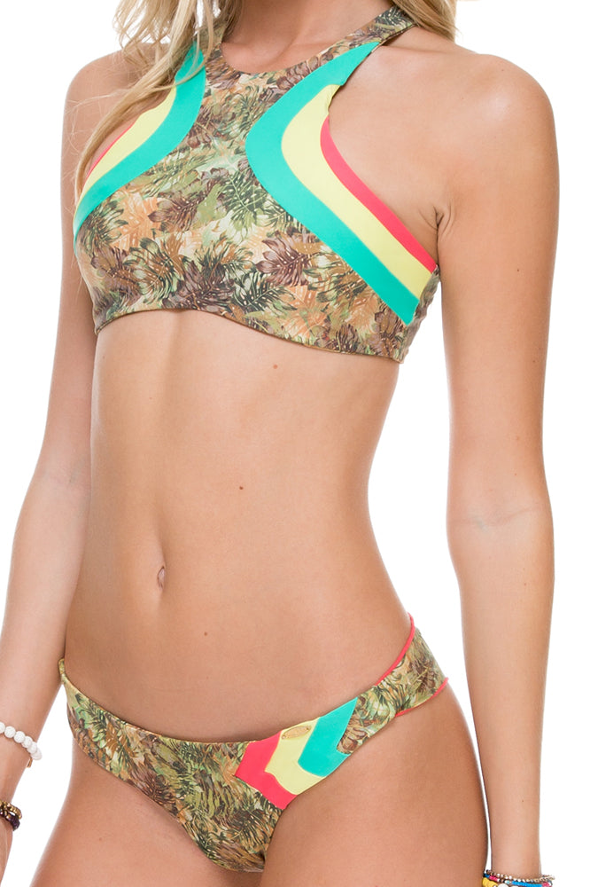 WORLD ON FIRE - Tri Color High Neck Top & Wavey Ruched Back Brazilian Bottom • Multicolor