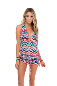 LIKE A FLAME - T Back Mini Dress • Multicolor