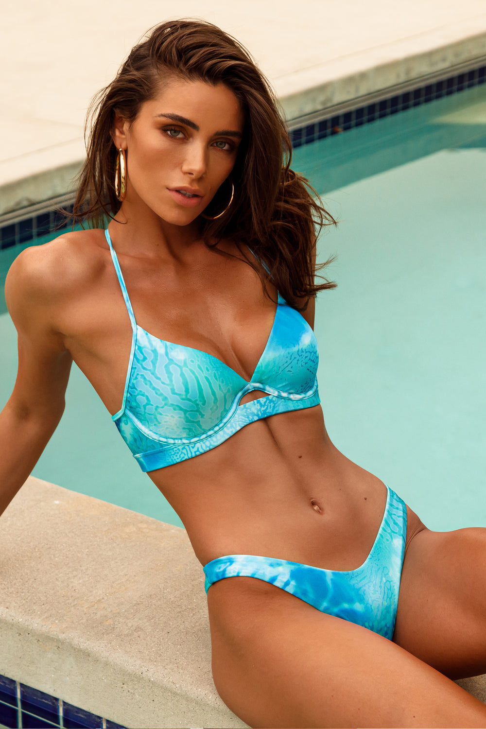 OCEAN SHIMMER - Underwire Top & High Leg Brazilian Bottom • Aqua