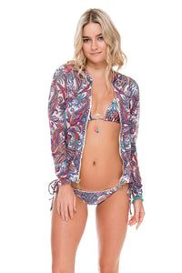 REBELDIA - Bomber Jacket & Wavey Ruched Back Brazilian Tie Side Bottom • Multicolor