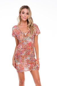 UNTAMEABLE - Vneck Bodycon Dress • Multicolor