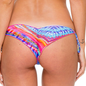 STAR GIRL - Wavey Ruched Back Brazilian Tie Side Bottom