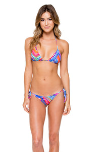 STAR GIRL - Triangle Top & Wavey Ruched Back Brazilian Tie Side Bottom • Multicolor