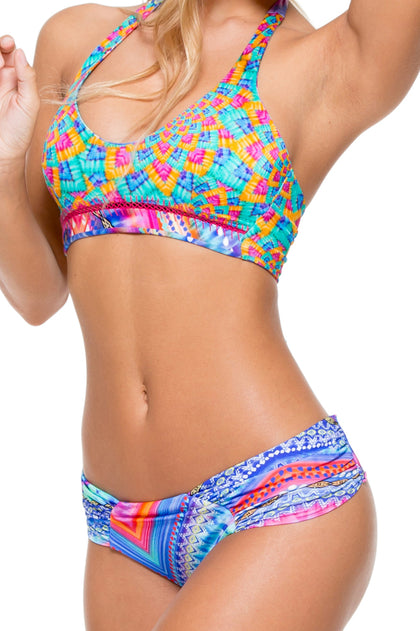 STAR GIRL - Stitched Reversible Halter Top & Scrunch Ruched Back Brazilian Bottom • Multicolor
