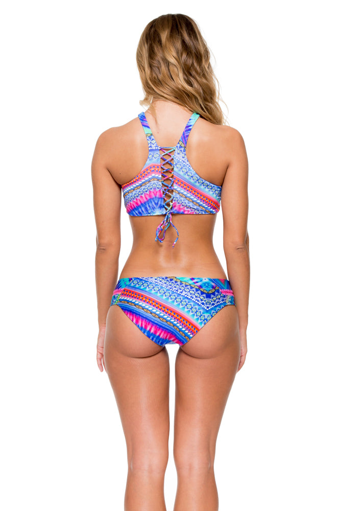 STAR GIRL - Glam High Neck Top & Stitched Straps Moderate Bottom • Multicolor
