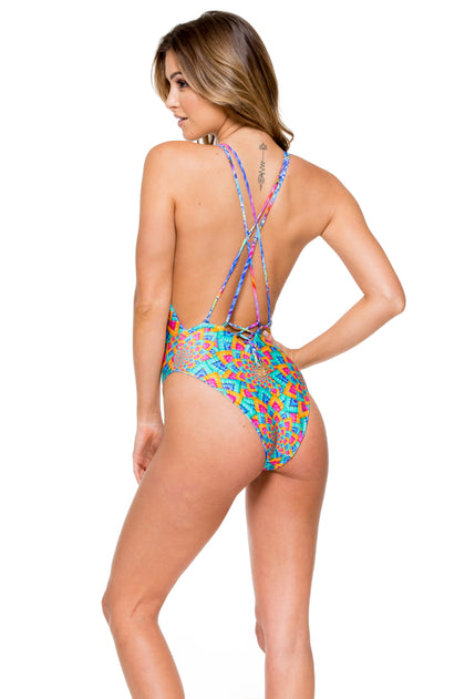 STAR GIRL - Deep V Crossed Back One Piece • Multicolor
