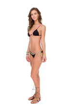 ATREVIDA - Multicolor Crochet Triangle Top & Wavey Ruched Back Brazilian Tie Side Bottom • Black