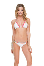 ATREVIDA - Multicolor Crochet Triangle Top & Wavey Ruched Back Brazilian Tie Side Bottom • White