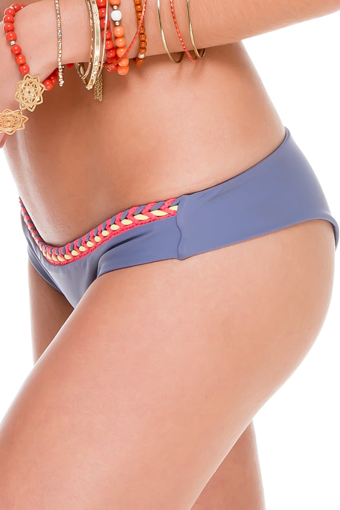 ATREVIDA - Multicolor Crochet Triangle Top & Multicolor Crochet Lo Rise Hipster Bottom • Blue Moon