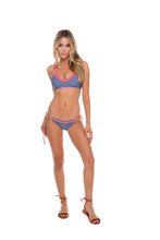 ATREVIDA - Multicolor Crochet Sporty Top & Wavey Ruched Back Brazilian Tie Side Bottom • Blue Moon