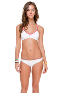 ATREVIDA - Multicolor Crochet Sporty Top & Multicolor Crochet Full Bottom • White