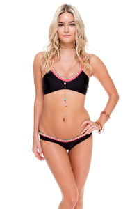 ATREVIDA - Multicolor Crochet Sporty Top & Multicolor Crochet Lo Rise Hipster Bottom • Black