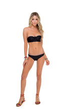 ATREVIDA - Multicolor Crochet Underwire Bandeau Top & Multicolor Crochet Full Bottom • Black