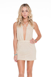 GOLDEN SUGAR - Criss Cross Plunge Dress • Gold Rush