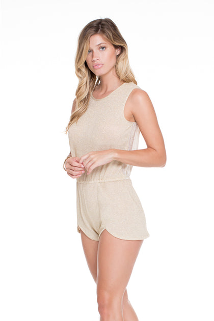 GOLDEN SUGAR - Scalloped Romper • Gold Rush