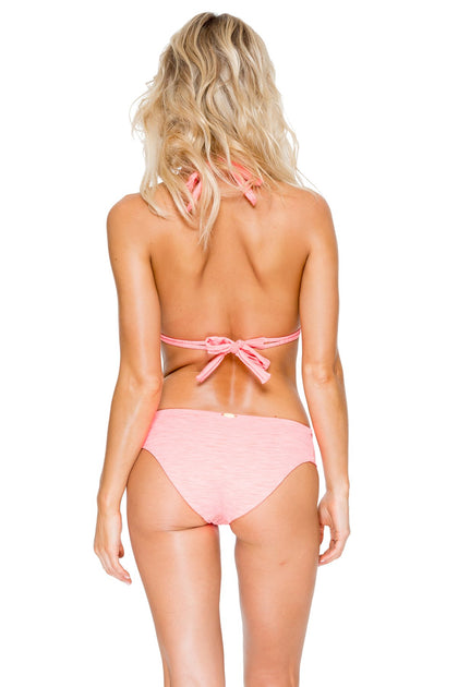 TAKE ME TO PARADISE - Triangle Halter Top & Tab Sides Full Bottom • Coral