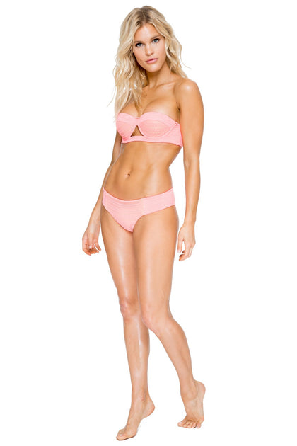 TAKE ME TO PARADISE - Cut Out Underwire Top & Tab Sides Full Bottom • Coral